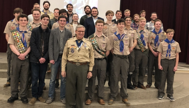 Reunion with some of Don's Eagle Scouts