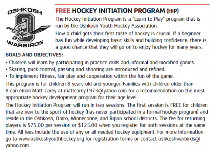 Oshkosh YMCA - FREE Hockey Initiation Program